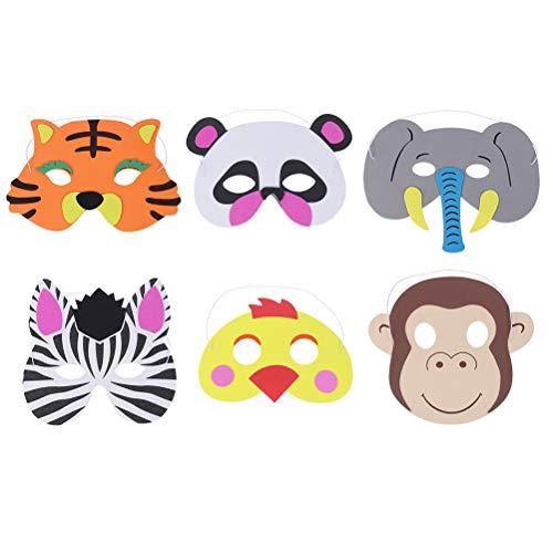 Toyvian 6pcs Máscara de animales de dibujos animados Máscara adorable Adorable Disfraz de disfraces para niños (Polluelo, Tigre, Mono, Panda, Elefante, Cebra)