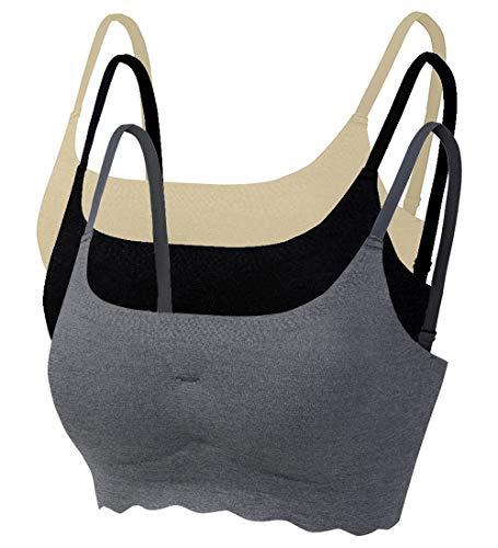 Acramy Damen Gepolsterter BH Push Up Ohne Bügel Sport Yoga Stretch Bustier 3er Pack (L, Mehrfarbig) -