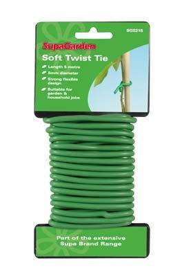 5M Rubber Coated Metal Bendable Garden Green Soft Twist Tie Plant Flower String