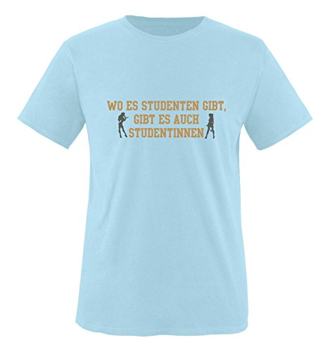 Comedy Shirts - Wo es Studenten gibt, gibt es auch Studentinnen. - Herren T-Shirt - Royalblau/Hellbraun-Grau Gr. XXL