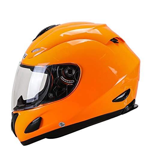 NJ Helm- Elektrischer Motorrad-Vollschutzhelm, Regen- und UV-Schutzhelm, HD-transparente Linse (Color : Orange, Size : XXL)
