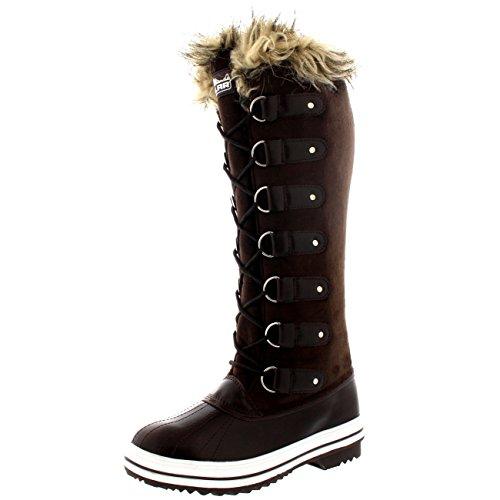 Polar Damen Pelz Cuff Schnüren Gummisohle Knie Hoch Winter Schnee Regen Schuh Stiefel - Braun Wildleder - BRS36 AYC0100 (Braun Winter-hohe Wildleder Stiefel)