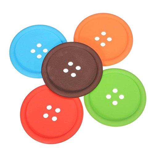Set de 6 posavasos de silicona en forma de botón