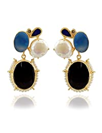 The Bohemian Gold-Plated Dangle & Drop Earring For Women Black- E113-314