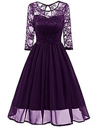 Sonnena para mujer velada fiesta boda de encaje Vintage trabajo Casual vestido de manga tres cuartos