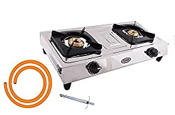 Prestige Star Stainless Steel 2 Burner Gas Stove with LPG Hose Pipe and Lighter