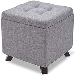 Suhu Pouf Tabouret Cube Tissu Coiffeuse Coffre de Rangement Repose Pied de Salon Design Chaise Moderne Siège en Lin Reposé Pieds en Bois avec Couvercle Gris Clair