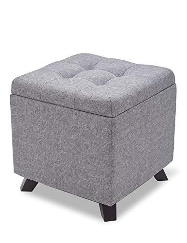 Suhu Pouf Hocker mit Stauraum Sitzhocker Sofa Couch Puff Hocker Fußbank aus Leinen und Massivholz Sitzbank Aufbewahrungsbox mit Deckel Hellgrau
