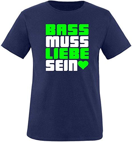 Luckja Bass muss Liebe Sein Herren Rundhals T-Shirt Navy/Weiss/Neongr