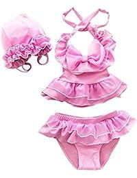 Moollyfox Conjunto Infantil de Bañador Bikini Traje de Baño de Dos Piezas Tankini con Gorro para Niñas Niñitas