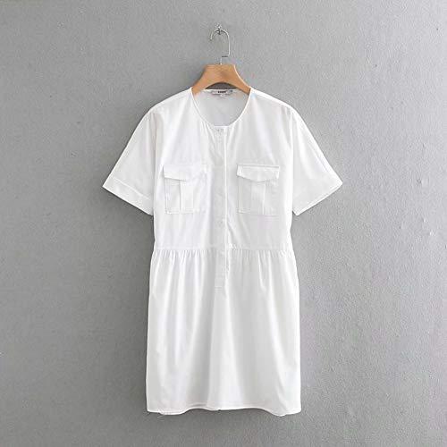 DELI Beiläufiges Weißes Minikleid Der Neuen Frauendoppeltaschen Frauen O Ansatz Kurzhülse EinfacheGeschäftskleider