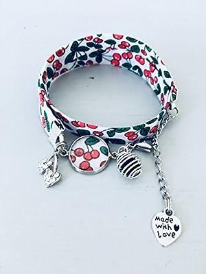 Bracelet Liberty fleuri cerise, bijou Liberty, bracelet en tissu, idée cadeau, bracelet parfum, bijou, bracelet fleuri, bijou Liberty