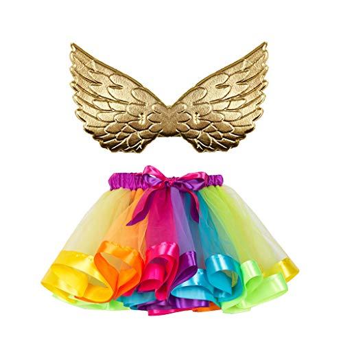 Dasongff Rainbow Tutu Rock mit Flügel 2 Stück Kinder Prinzessin Kleid Unterrock Partykleid Ballett Outfit Engelsflügel Leistung Kostüm Wings für Kleinkind Mädchen Fasching Karneval - Ballett Kostüm Material
