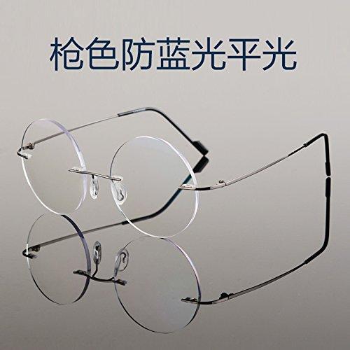 KOMNY Randlose Brille Frame Anti Blaue Flachbild Computer TV Schutzbrille gegen Strahlung runde Gläser und fertige Gesicht, kleine Pistole Farbe