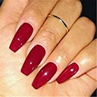 BloomingBoom False Nail Coffin 24 Pcs 12 Size Fake Nails Full Cover Long Fake Nail Salon Pre Design Ballerina Acrylic Deep Red
