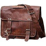 Mangalmurti Handicrafts Vintage Rustic Genuine Hide Leather Messenger Satchel Laptop Briefcase Shoulder Bag For Men's And Women 18X13X6 Brown Christmas Gifts