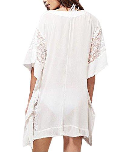 Auxo Damen V-Ausschnitt Langarm Oversize Langshirt Bluse Strand Tunika Oberteil Tops Weiß