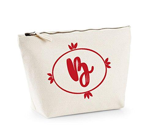 Personalised Initial - Custom - Fun Slogan, Make Up and Cosmetics Bag, Accessory Organiser Natural/Red