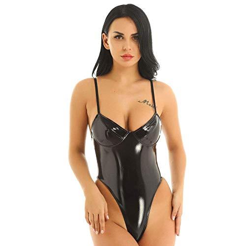 MIAO CODE Latex Kleidung Damen PVC Open Chest Fischnetz Backless Bodysuit Clubwear,Black4-L -