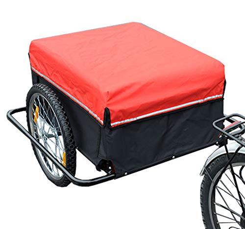 Homcom Remorque de Transport Velo Cargo avec reflecteurs et Housse Amovible Rouge/Noir