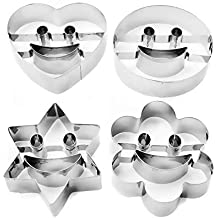 HomeTools.eu - 4 cortadores de galletas con sonrisa para galletas divertidas, emoji sonriente