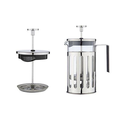 MW Creations French Presse Kaffee/Tee-Hersteller Hitzebeständigem, Cafetiere mit Chrome Rahmen Doppelfilter, 3 Cup / 350ml Edelstahl -