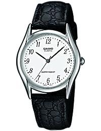 CASIO MTP-1154E-7 - Reloj de cuarzo con correa de cuero, para hombre, color blanco y negro