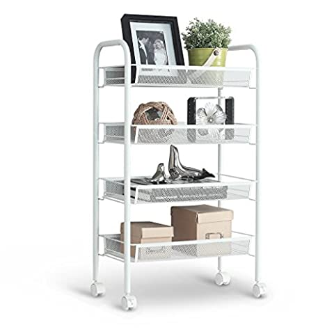 LANGRIA All Purpose Shelving, 4 Tier Serving Trolley, Metal Mesh Storage Units, Sturdy Rolling Cart, Suitable for Kitchen, Home, Office, White