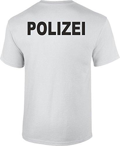 SachenOnlineKaufen T-Shirt Polizei Druck Verschiedene Farben beidseitiger Druck Weiss L -