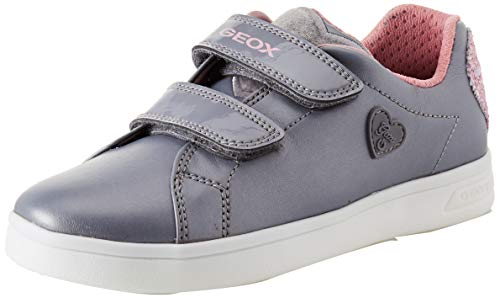 Geox j djrock f, scarpe da ginnastica basse bambina, grigio (grey/pink c0502), 28 eu