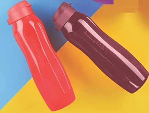 Tupperware Aquaslim Flip Top Water Bottle Set, 1 Litre, Set of 2, Multicolor