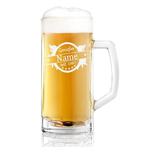 Bierkrug mit Gravur eines Namens und Jahreszahl – Bierseidel mit Motiv Genießer Flügel 0,3l