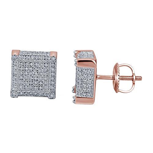 lilu Jewels Boucles d'oreilles clous en argent sterling 925style Dernières Bloc cube avec rond blanc véritable diamant 14k Rose Gold Plated