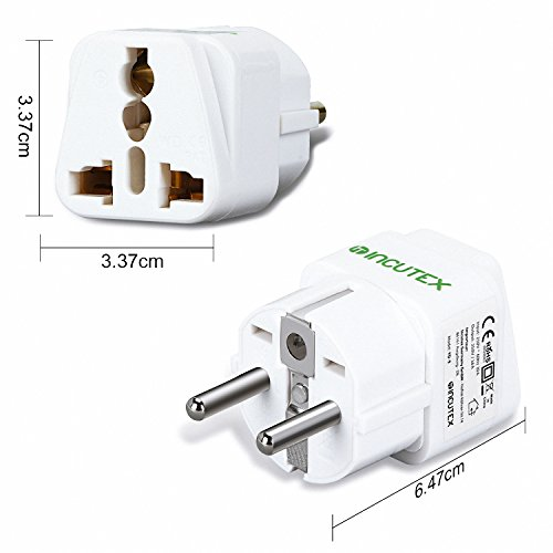Incutex 2X universal Steckdosenadapter Reiseadapter universal Reisestecker US UK zu EU DE Schuko universal travel Adapter Plug, weiß Universal-travel-plug