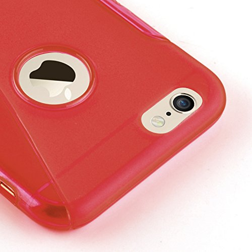JAMMYLIZARD | S-Line Silikon Case Hülle für iPhone 6 Plus & 6s Plus 5.5 Zoll, KNALLROSA ROT