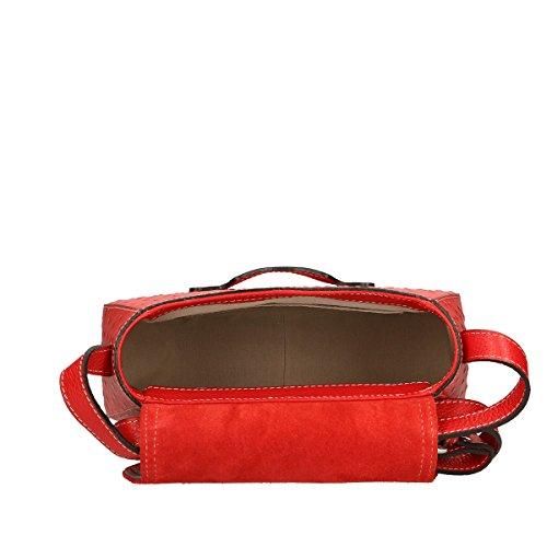 Chicca Borse Borsa a tracolla in pelle 25x20x9 100% Genuine Leather Rosso