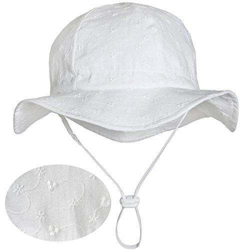 Weiße Baumwoll-Sonnenhüte fürs Kleinkind (Mädchen) 50 UPF, Kordelzug verstellbar, mit Kinnriemen (Mittel: 6-30m, Schlapphut: Klein Floret)