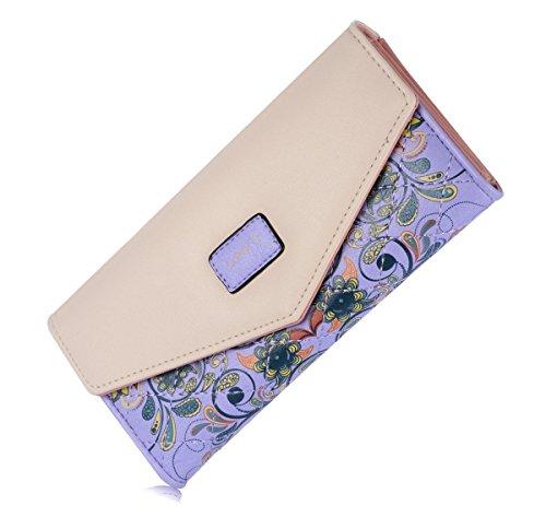 Elegant Blume Muster Frisch Fashion Süß Elegant Damen Portemonnaie Geldbörse (Lauren Pferd Ralph)
