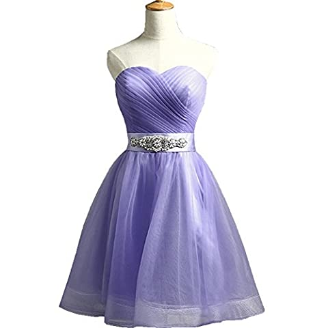 B Emily Sweetheart Short Lace Up A Line Evening Gown Formal Dresses ED011 (US2, Purple)