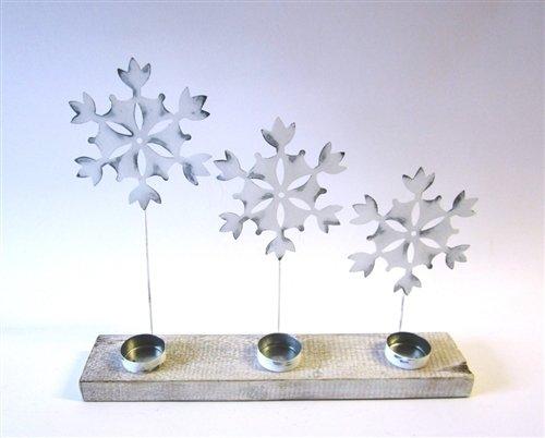 Tres blanco copos de nieve/estrellas en Base de madera con inserciones de té luz vela