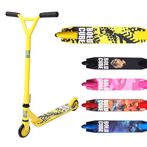 BOLDCUBE Patinetes de Acrobacias - Freestyle Pro Truco de 360   Grados - Plataforma de Aluminio Liviana - Freestyle Stuntscooter para Adultos y niños (Amarillo y Blanco)