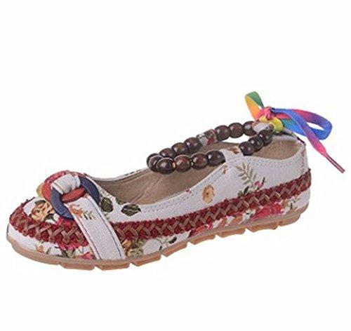 HOMEE Femmes rétro chaussures à la main perlé vent national brodé 40 Eu