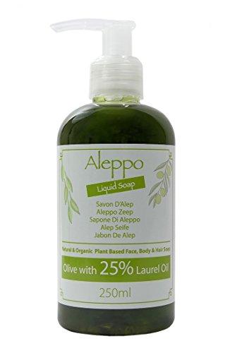 Jabón líquido natural de Alepo tradicional y genuino con aceite de oliva y aceite de laurel al 25% 250g