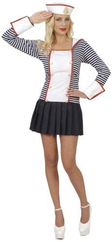 Widmann 77141 - Erwachsenenkostüm Matrosin, Kleid mit Kragen und Hut, Größe (Frauen Seemann Halloween Für Kostüm)