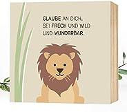 Wunderpixel® Holzbild Mut-mach-Löwe - 15x15x2cm zum Hinstellen/Aufhängen, echter Fotodruck mit Spruch auf Holz