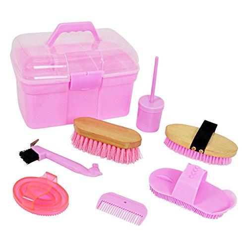 VOSS.farming 8-Teilige Pferdeputzbox in Pink für Kinder Putzkasten Striegel Hufkratzer Kardätsche Hufpinsel Mähnenkamm