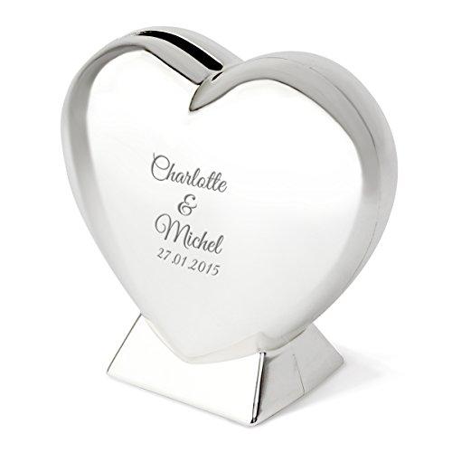 Herz-Spardose mit Gravur   schöne Spardose Herz zur Hochzeit oder Einem gemeinsamen romantischen Anlass   Silber, 9cm