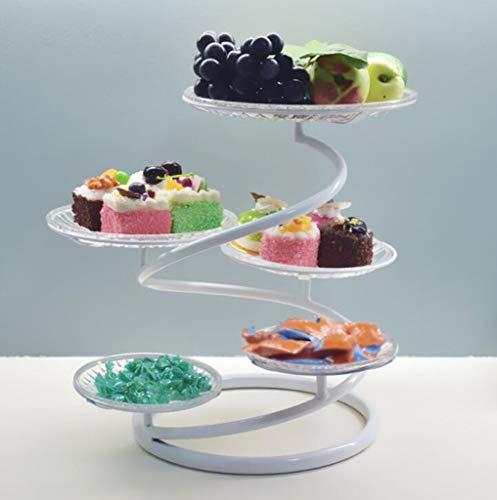 CHENGXINGF Tortenständer Eisen Mehrschicht-Tortenständer Konditorei Fruit Candy Kreativständer Wohnzimmer Hochzeit Multifunktions-Konditorei Tisch Höhe 40cm (Color : White)