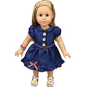 055ff87e17a4 Shero 14 - 16 Inches Baby Doll s Dress Denim Skirt  Amazon.co.uk ...