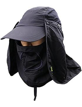 Gorra para sol con protección solar de 360°. UPF 50+, protector de cuello y de rostro extraíbles, para hombre...